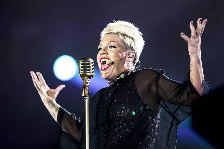 Show da cantora Pink no palco Mundo, no penúltimo dia do festival Rock in Rio