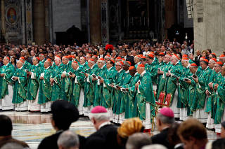 Pope Francis leads a Mass to open a three-week synod of Amazonian bishops at the Vatican