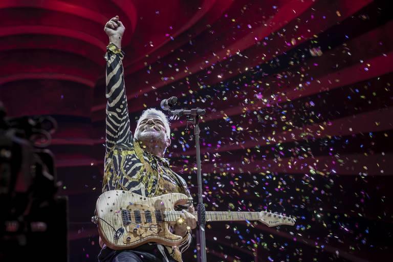 Show do cantor Lulu Santos no palco Sunset, no último dia do festival Rock in Rio