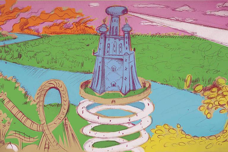 Na ilustração, está representado um cenário de fantasia. Há um rio volumoso que cruza toda a cena, em volta ele há bastante grama. No centro da ilustração, há uma espiral que sobe a partir da terra e sustenta um prédio semelhante a um castelo, mas com uma torre central que solta um feixe de luz. Também há uma onda de moedas e um incêndio no fundo