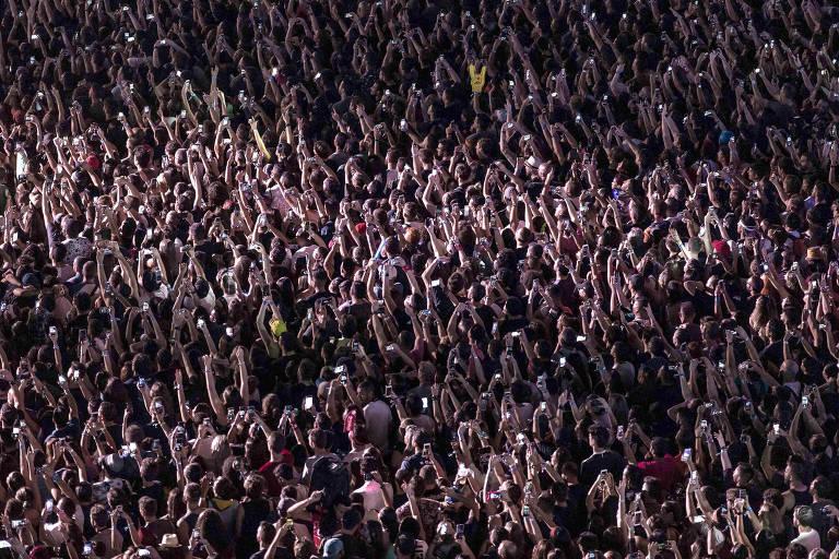 Vista geral durante show do Nickelback, no último dia do festival Rock in Rio