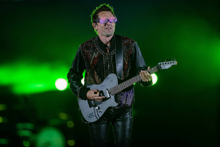 Show da banda Muse, no palco Mundo, durante sétimo dia de Rock in Rio, que ocupou a Cidade do Rock carioca