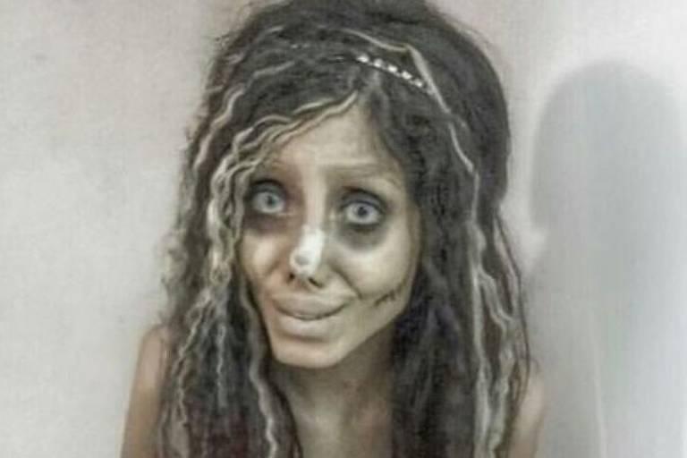 Sahar Tabar se tornou famosa internacionalmente com suas fotos chocantes, que pareciam mostrar uma 'versão zumbi' da atriz Angelina Jolie