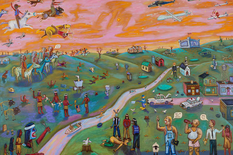 'Off the Reservation (or Minnesota Nice)', obra de Jim Denomie exibida na 21ª Bienal de Arte Contemporânea do Sesc_Videobrasil