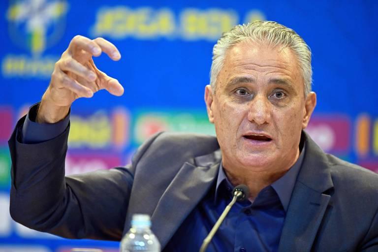 O técnico Tite, durante treino da seleção brasileira