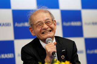 Asahi Kasei honorary fellow Akira Yoshino, 2019 Nobel Prize in Chemistry winner, attends a news conference in Tokyo
