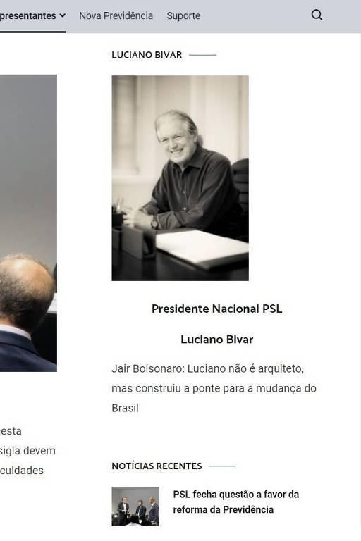 Reprodução do site oficial do PSL, com frase atribuída a Jair Bolsonaro em homenagem a Luciano Bivar