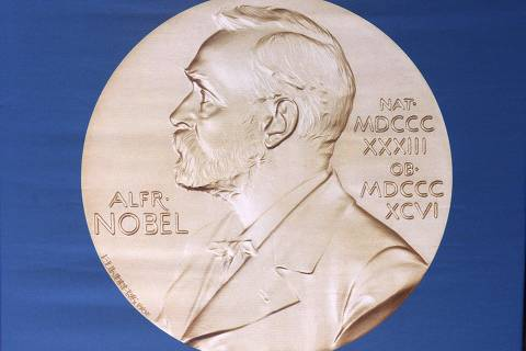 The laureate medal featuring the portrait of Alfred Nobel is seen before a press conference of the Nobel Committee to announce the winner of the 2015 Nobel Medicine Prize on October 5, 2015 at the Karolinska Institutet in Stockholm, Sweden. Swedish inventor and scholar Alfred Nobel, who made a vast fortune from his invention of dynamite in 1866, ordered the creation of the famous Nobel prizes in his will.  AFP PHOTO / JONATHAN NACKSTRAND ORG XMIT: 6062