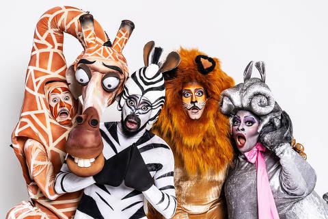 """Elenco de """"Madagascar, uma Aventura Musical"""""""