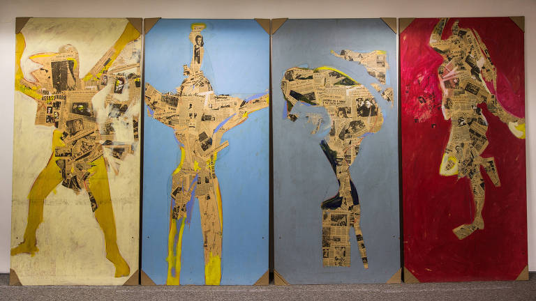Imagens dos quatro painéis do artista Ivald Granato que estão na sala de reuniões da superintendência do Grupo Folha da Folha de S.Paulo