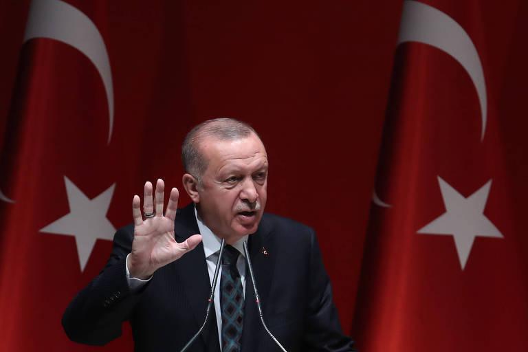 O presidente turco Recep Tayyip Erdogan, durante discurso em Ancara