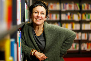 Olga Tokarczuk poses during a photo call after being awarded the 2018 literature Nobel Prize, in Bielefeld