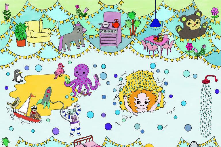 """No Dia da Criança, Masp tem oficina de desenho com a ilustradora Talita Hoffman. Na foto, imagem do livro """"A menina que morava no chuveiro"""" escrito por Antonio Prata"""