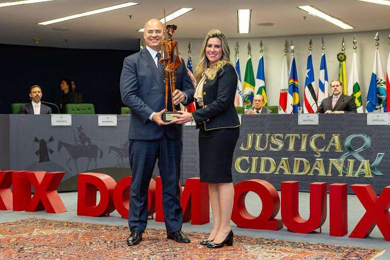 O governador do Rio de Janeiro, Wilson Witzel e sua mulher, Helena Witzel