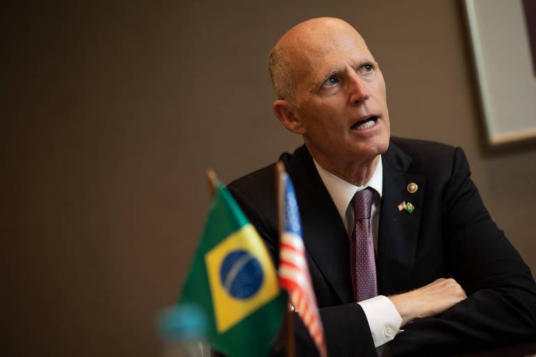 O senador republicano Rick Scott durante visita a São Paulo