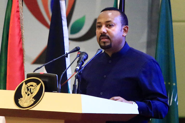 O premiê da Etiópia, Abiy Ahmed, durante cerimônia no Sudão