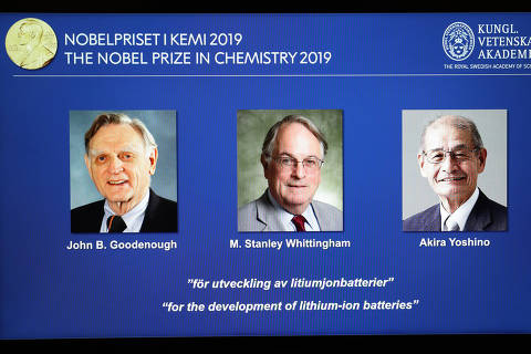 (191009) -- STOCKHOLM, Oct. 9, 2019 (Xinhua) -- Information of the laureates are displayed at the announcement of the 2019 Nobel Prize in Chemistry at the Royal Swedish Academy of Sciences in Stockholm, Sweden, Oct. 9, 2019. The 2019 Nobel Prize in Chemistry is awarded to three scientists, the Royal Swedish Academy of Sciences announced on Wednesday. 