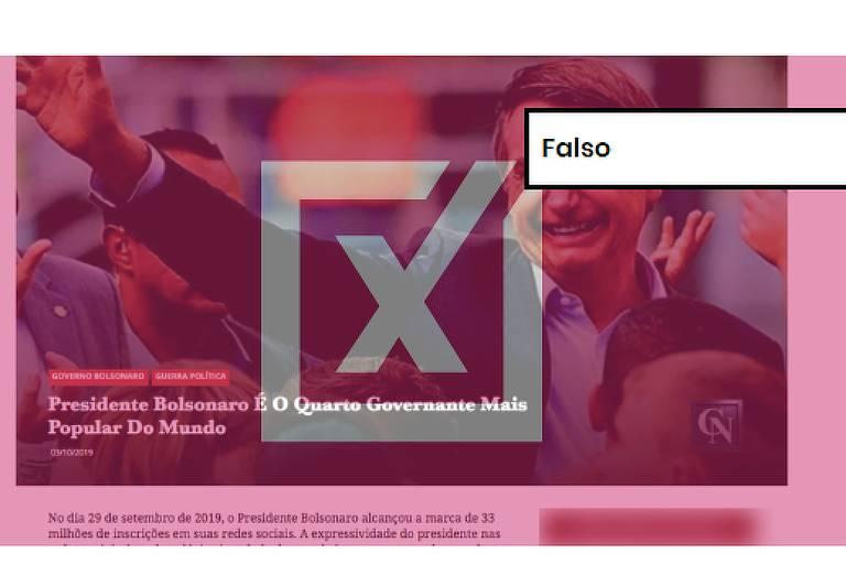 """Foto de Jair Bolsonaro vestindo terno, sorrindo e acenando para pessoas ao redor, é acompanhada do título """"Presidente Bolsonaro é o quarto governante mais popular do mundo"""". Em primeiro plano, etiqueta digital onde está escrito """"falso""""."""