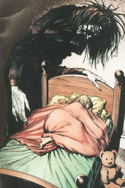 monstro sobre menininha na cama