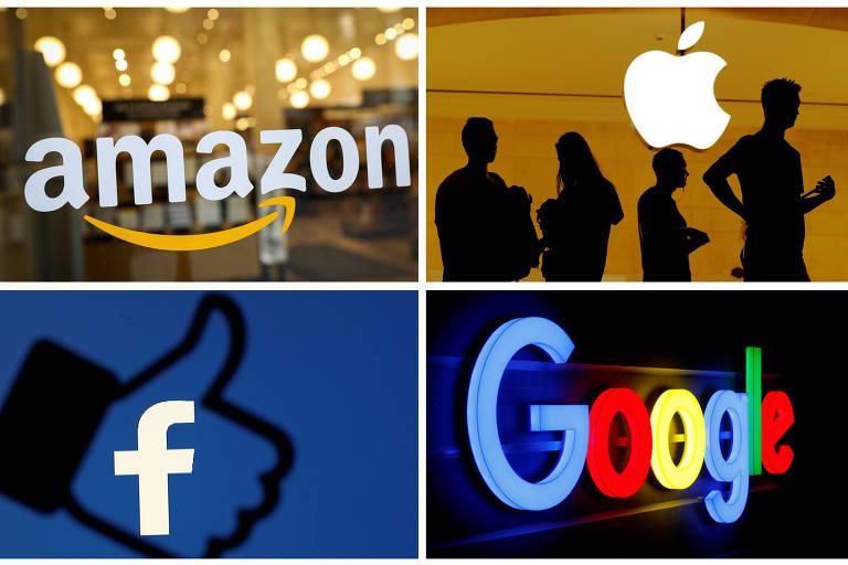 Logo das gigantes de tecnologia, Amazon, Apple, Google e Facebook
