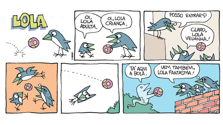 tirinha mostra andorinha Lola encontrando outros passarinhos que são ela própria