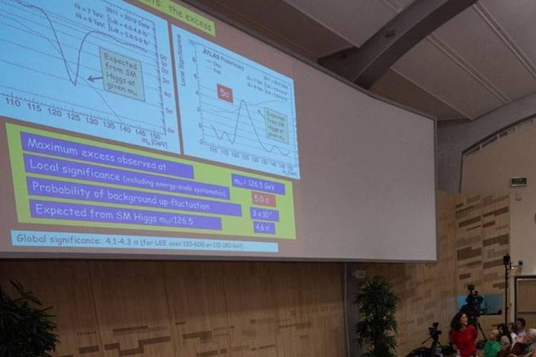 Apresentação da descoberta do Boson de Higgs com a fonte Comic Sans