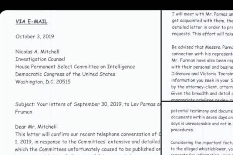 Carta de advogados de Trump sobre seu impeachment escrita com a fonte Comic Sans
