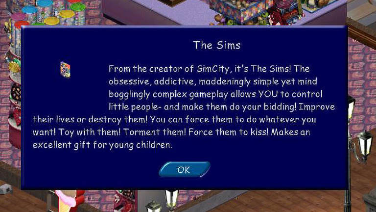 Tela do jogo The Sims usa a fonte Comic Sans