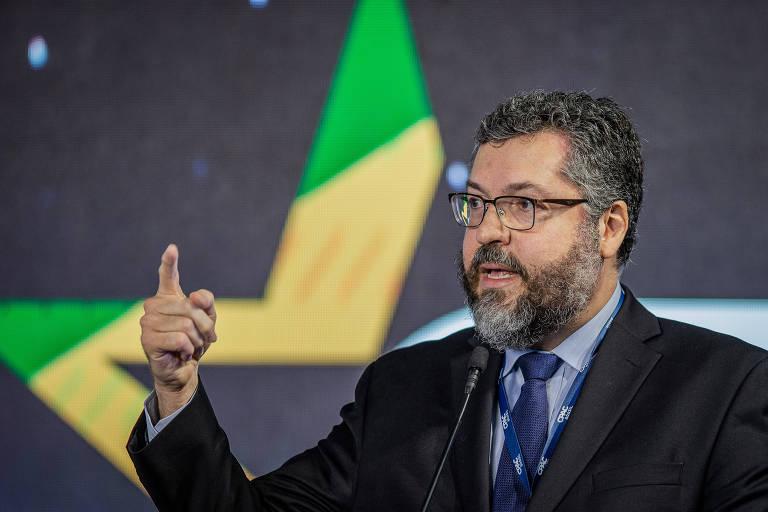 O ministro das Relações Exteriores, Ernesto Araújo, durante evento conservador em São Paulo