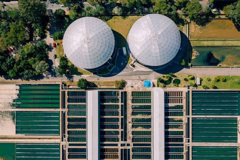 São Paulo, SP, Brasil, 26-07-2019: Estação de tratamento de água da Sabesp. R. Graham Bell, 647. Foto aérea. Drone. (foto Gabriel Cabral/Folhapress)
