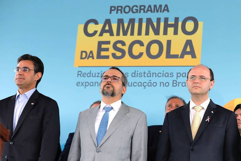 Da esq., o vice-governador de SP, Rodrigo Garcia, o ministro da Educação, Abraham Weintraub, e o secretário estadual de Educação, Rossieli Soares