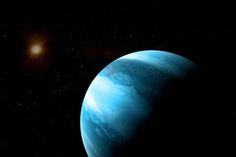 Concepção artística de um planeta gigante gasoso orbitando uma anã vermelha, como é o casjo de GJ 3512b