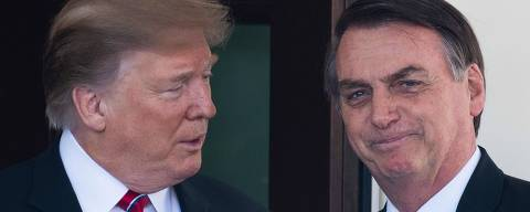 (FILES) In this file photo taken on March 19, 2019 US President Donald Trump (L) welcomes Brazilian President Jair Bolsonaro to the White House in Washington, DC. - President Donald Trump on July 30, 2019 said his administration is working on a free-trade agreement with Brazil, to cement closer ties between the two the largest economies in the Western Hemisphere.
