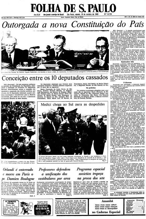 Primeira página da Folha de S.Paulo de 18 de outubro de 1969