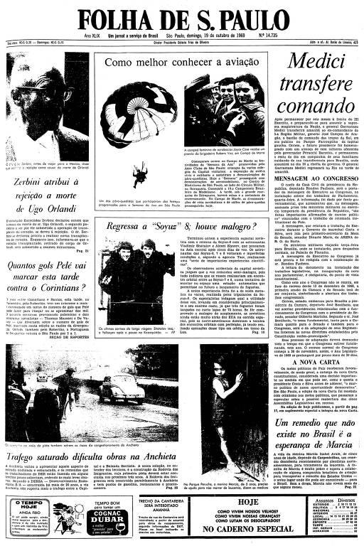 Primeira página da Folha de S.Paulo de 19 de outubro de 1969