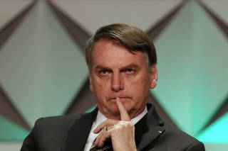 Brazil's President Jair Bolsonaro attends the Brazil Investment Forum in Sao Paulo
