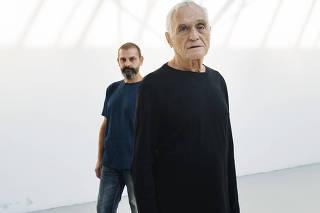 John Giorno and his husband, Ugo Rondinone, at the Palais de Tokyo setting up their exhibition