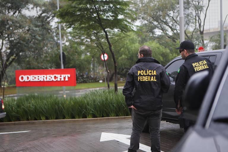 Chegada da Policia federal na sede da Odebrecht, em São Paulo, na fase 14 da Lava Jato, em 2015