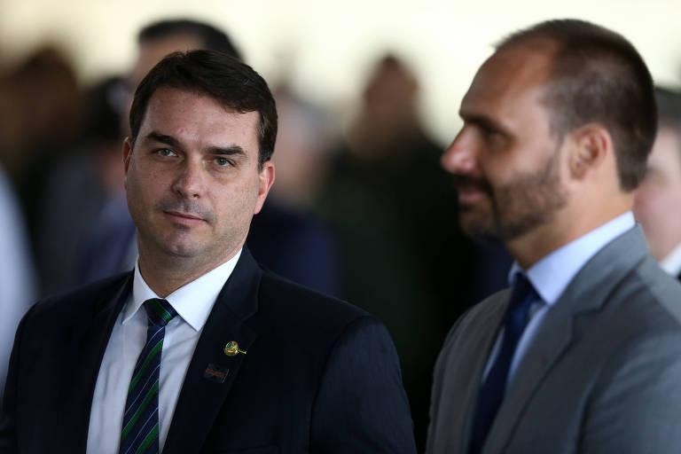 Os filhos do presidente, Flávio e Eduardo Bolsonaro