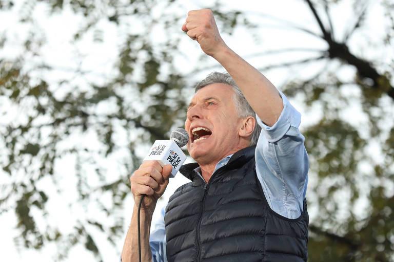 O presidente da Argentina, Mauricio Macri, durante comício em Buenos Aires