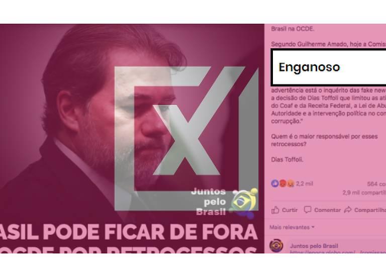 """Na foto da publicação está o presidente do Supremo Tribunal Federal (STF), Dias Toffoli, com a frase """"Parabéns, Toffoli! Brasil pode ficar de fora da OCDE por retrocessos no combate à corrupção""""."""