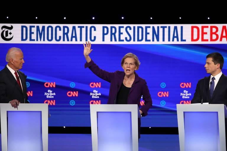 Joe Biden, Elizabeth Warren e Pete Buttigieg