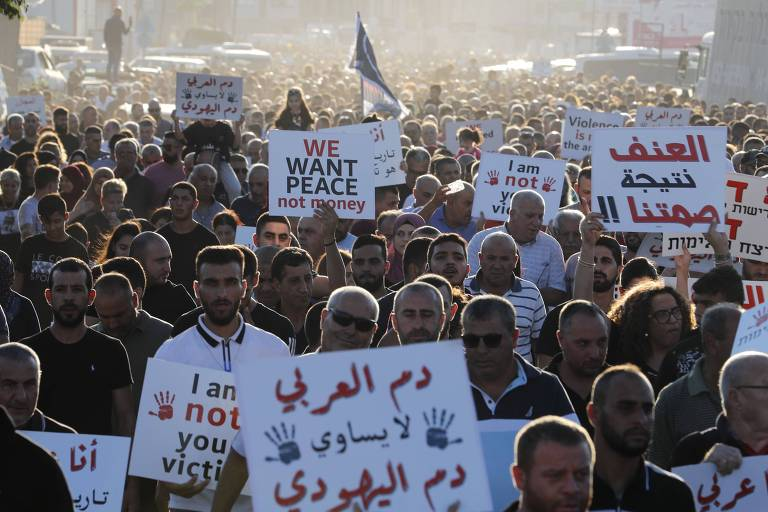 Árabes protestam em Majd al-Krum, em Israel, contra a violência, o crime organizado e os assassinatos dentro de suas comunidades