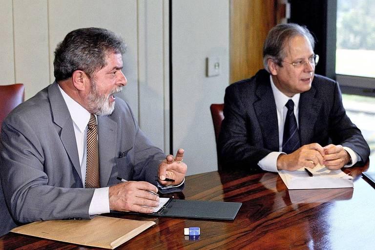 Lula e Dirceu em reunião no Planalto, em 2003