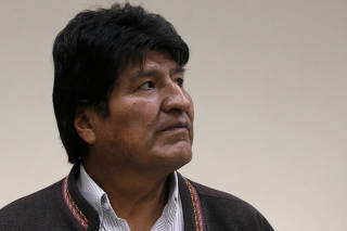 Bolivia's President Evo Morales is seen during a visit to the Institute of Nuclear Medicine and Cancer Treatment in El Alto, outskirts of La Paz