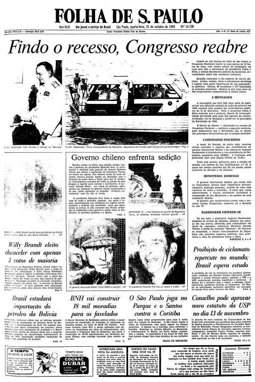 Primeira página da Folha de S.Paulo de 22 de outubro de 1969