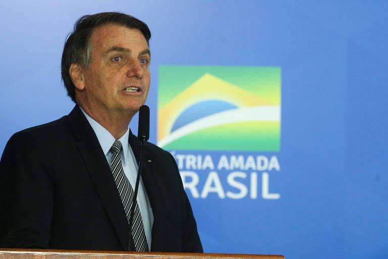 Presidente da República, Jair Bolsonaro, em cerimônia nesta quarta-feira (16)