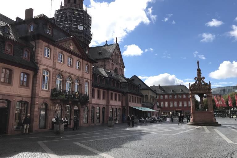 Praça central da cidade de Mainz, a 45 quilômetros de Frankfurt