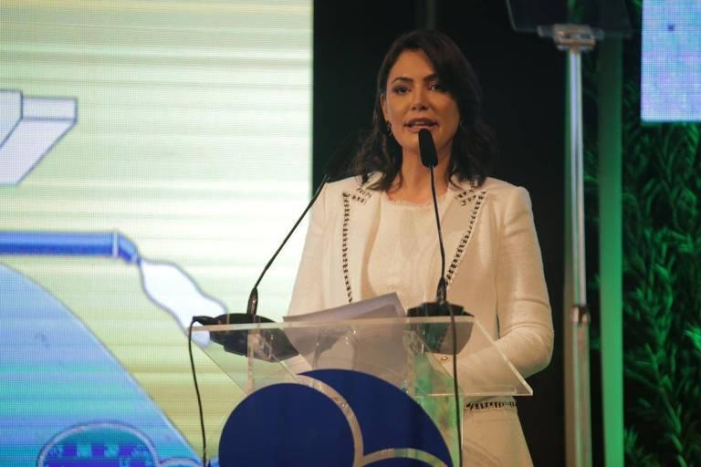 Michelle Bolsonaro no Prêmio Tecnologias Sociais da Fundação Banco do Brasil na noite de quarta (16)