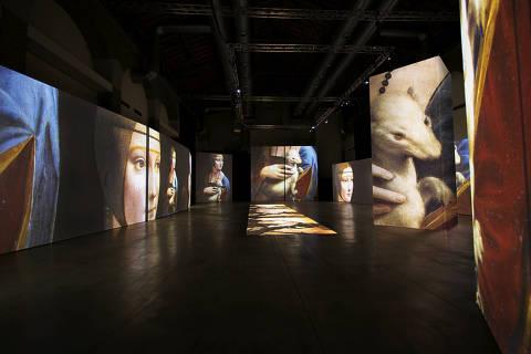 Um dos espaços imersivos da mostra dedicada ao Leonardo da Vinci que inaugura o novo espaço do MIS